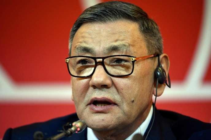 Gafur Rakhimov, le 3 novembre 2018, lors de son élection à la présidence de l'AIBA.
