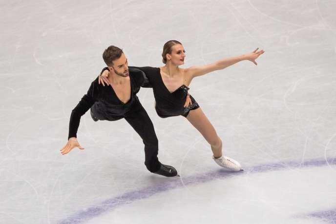 Gabriella Papadakis et Guillaume Cizeron lors des championnats du monde de patinage artistique à Saitama, au Japon, le 22 mars 2019