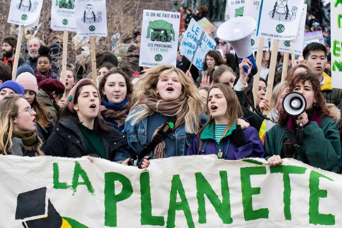 Manifestation pour le climat de jeunes à Montréal, le 15 mars 2019.