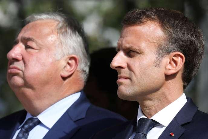 Le chef de l'Etat, Emmanuel Macron, et le président du Sénat, Gérard Larcher, le 19septembre 2018 à Paris.