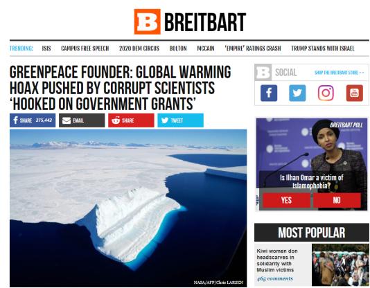 Cet article de «Breitbart» a par la suite été repris par Donald Trump sur Twitter.