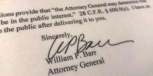 La signature du ministre de la justice américaine William Barr actant que l'investigation du procureur Mueller est terminée, le 22 mars.