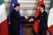 Le président chinois et le premier ministre italien, à la Villa Madama, à Rome, le 23 mars.