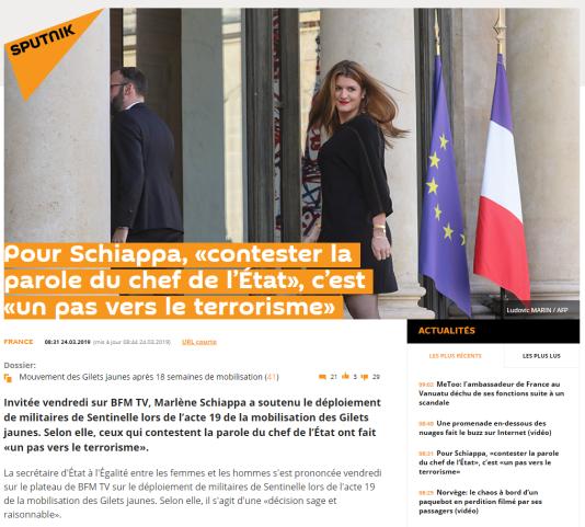 Capture d'écran de l'article initialement publié, puis rectifié par la suite par «Sputniknews.com».