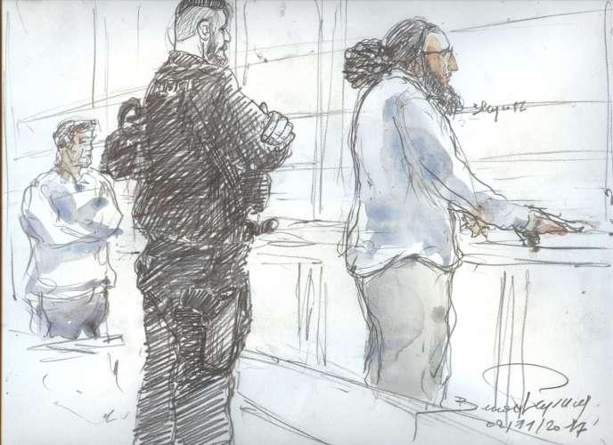 Abdelkader Merah lors de son procèsdevant le tribunal de Paris, ici dessiné le 2 novembre 2017.