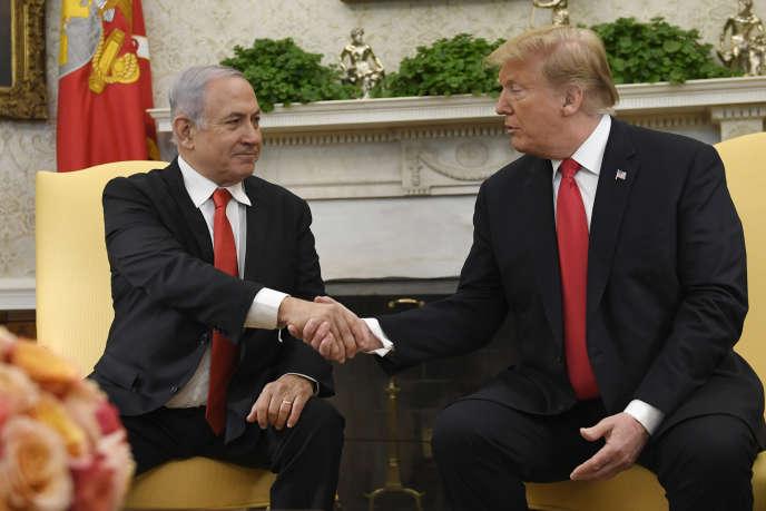 Le président américain, Donald Trump, et le premier ministre israélien, Benyamin Nétanyahou, à la Maison Blanche, à Washington, le 25 mars 2019.
