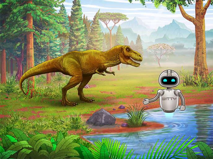 Witty the robot, aux côtés du T-Rex.