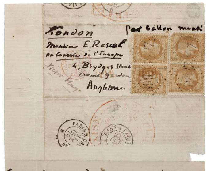 Philatélie et guerre de 1870: 16900euros pour une lettre de Victor Hugo