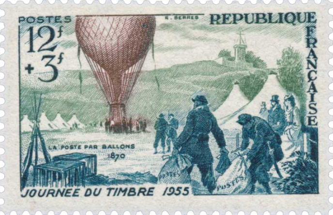 La poste par ballon monté en 1870-1871. Timbre de 1955. Dessin et gravure : Raoul Serres.