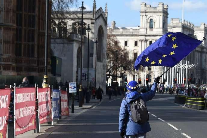 Une personne manifestant contre le Brexit devant le Parlement, à Londres, le 25 mars.