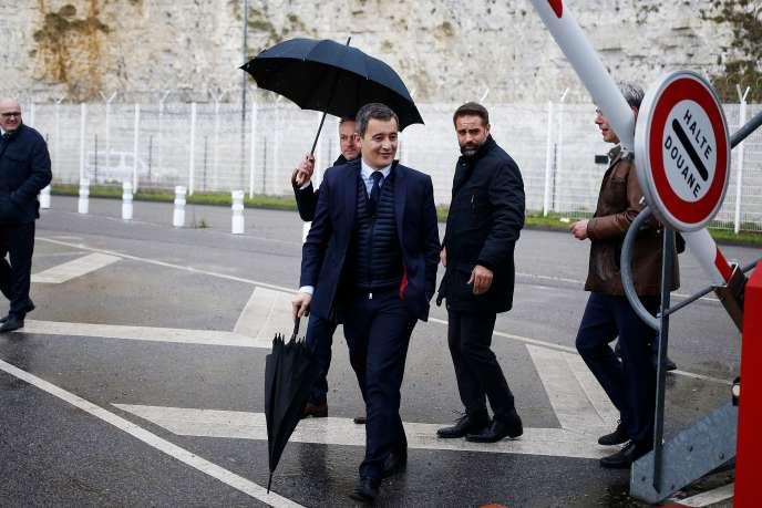 Le ministre de l'action et des comptes publics, Gérald Darmanin, le 27 février, à Dieppe (Seine-Maritime).