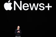 Le PDG d'Apple, Tim Cook, lors de la conférence du groupe, à Cupertino (Californie), le 25 mars.