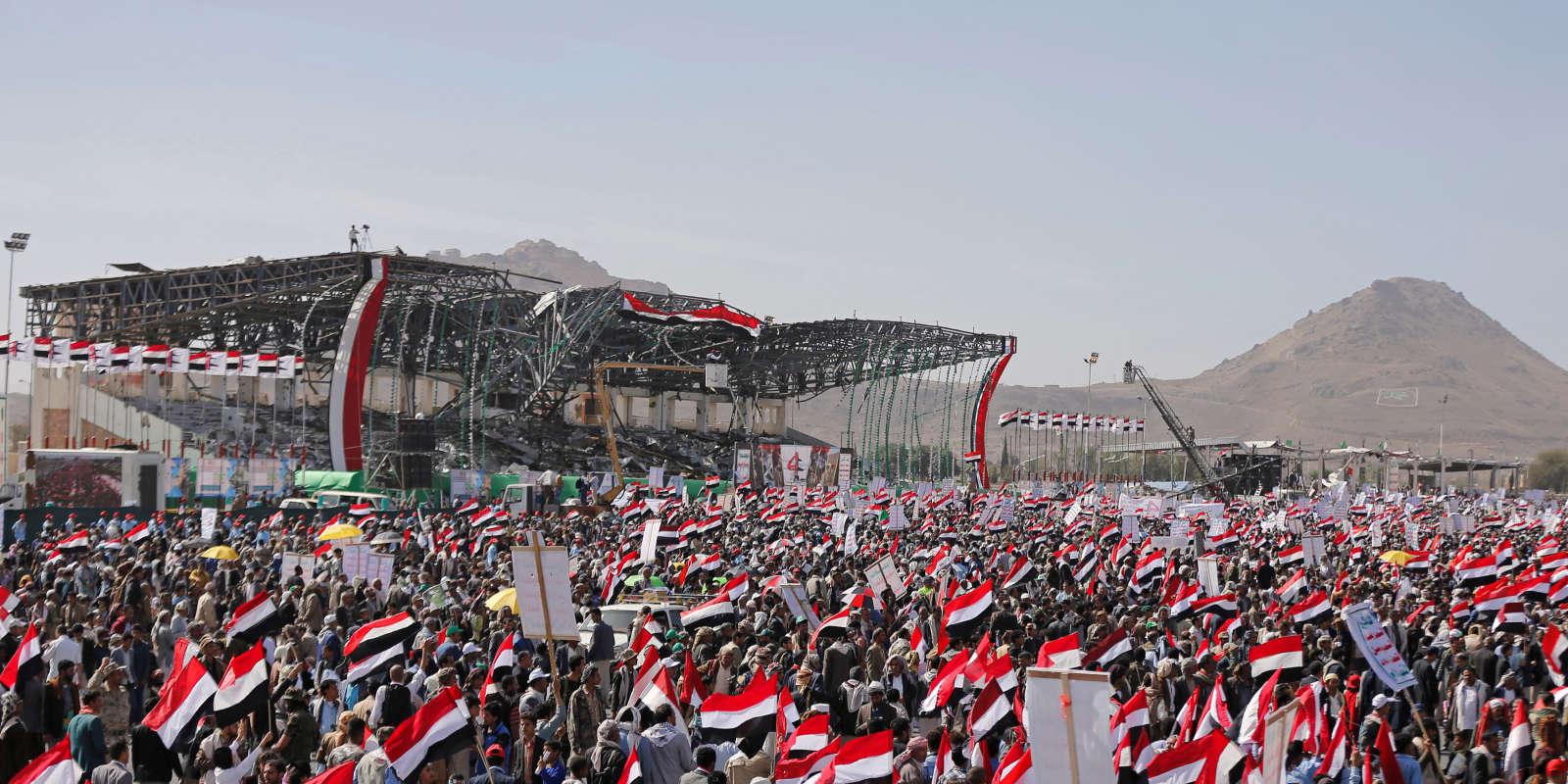 Lors d'un rassemblement de houthistes, à Sanaa, le 26 mars, à l'occasion des quatre ans du début de la guerre au Yémen.