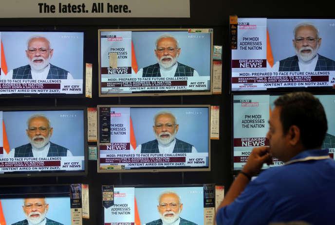 Allocution télévisée du premier ministre indien, Narendra Modi, le 27mars.