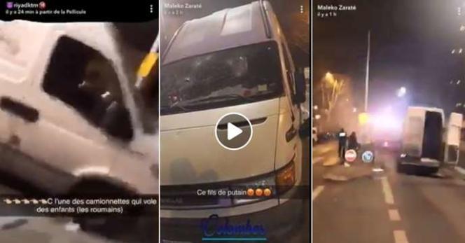 Extraits de vidéos montrant des Roms agressés par des jeunes, diffusées sur Facebook le 24 mars.