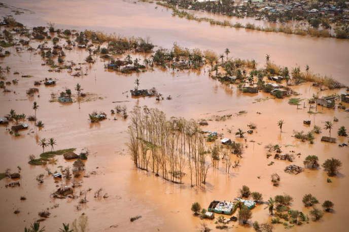 La ville de Beira le 20 mars 2019, dans le centre du Mozambique, ravagée par les inondations déclenchées par le passage du cyclone Idai quelques jours auparavant.