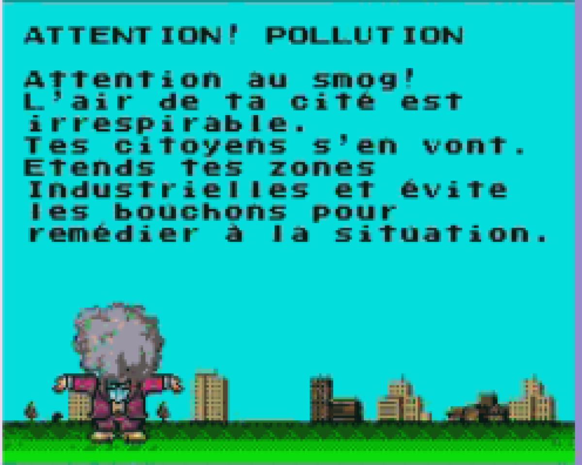 Le docteur Wright de« Sim City» interpelle le joueur sur le niveau de pollution de sa ville.