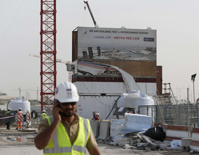 Sur le chantier du métro de Doha, en mars 2015.