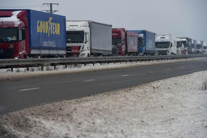 Sur l'autoroute A36, près de Besançon (est de la France), en mars 2018.