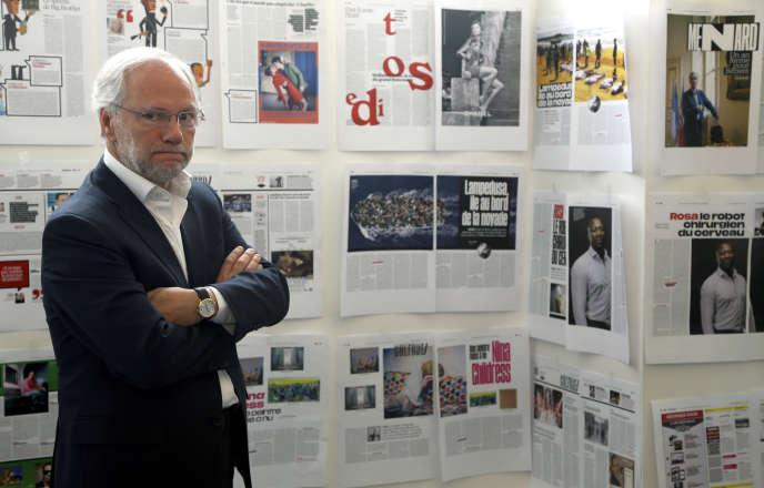 Laurent Joffrin, directeur de la rédaction de« Libération», en mai 2015 à Paris.