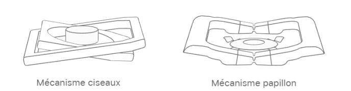 Le mécanisme papillon (à droite) des claviers de Macbook est assez différent du mécanisme à ciseaux (à gauche) qu'on rencontre sur beaucoup de claviers d'ordinateurs portables.
