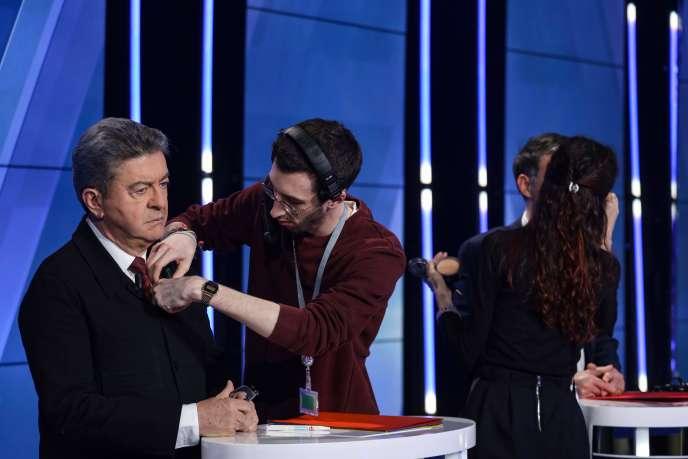 Jean-Luc Mélenchon sur le plateau de BFM-TV à Paris, le 20 mars.