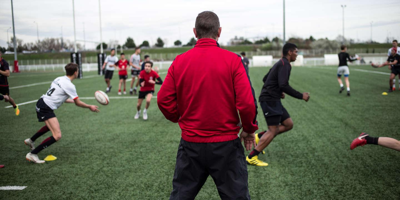 Le Stade toulousain est un club de rugby à XV domicilié à Toulouse. Séance d'entraînement au stade Ernest-Wallon avec Franck Ayela entraîneur des cadets. Photo: Ulrich Lebeuf / Myop pour Le Monde