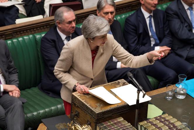 Theresa May à la Chambre des communes à Londres, le 29 mars.