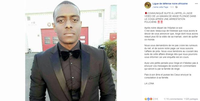 La Ligue de défense noire africaine a annoncé sur Facebook dimanche le décès d'Ange Dibenesha Marifa.