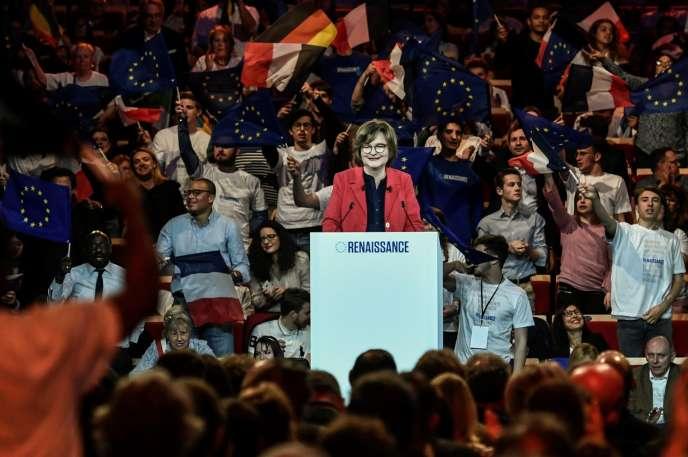 La tête de liste de La République en marche, Nathalie Loiseau, à Aubervilliers (Seine-Saint-Denis), le 30 mars.