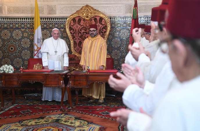 Le pape François et le roiMohammed VI au Palais royal de Rabat (Maroc), le 30 mars.