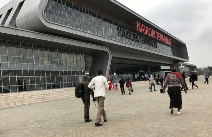 La gare de la ligne Mombasa-Nairobi construite par une entreprise chinoise, dans la banlieue de Nairobi, au Kenya, en juillet 2017.