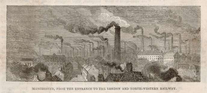Des usines à Manchester, vers 1870.