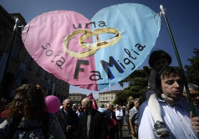 Marche « pour la famille » et anti-avortement du Congrès des familles, à Vérone (Italie), le 31 mars 2019.