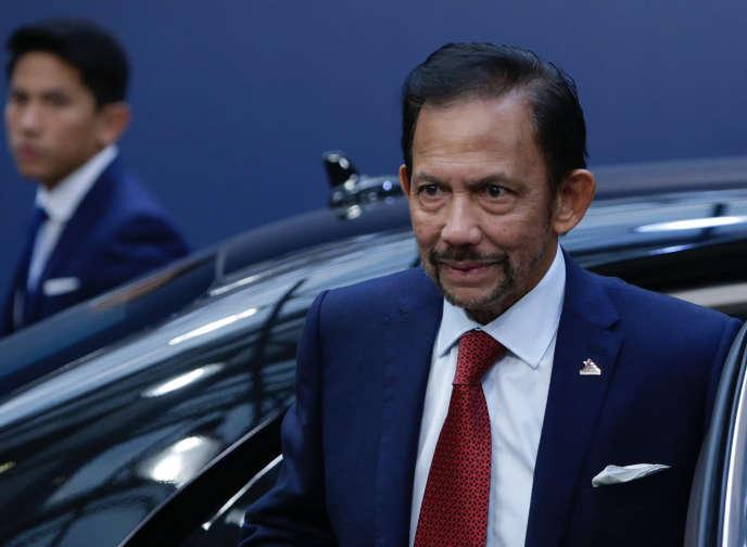 Le sultan de Brunei, Hassanal Bolkiah, lors d'un sommet à Bruxelles (Belgique), en octobre 2018.
