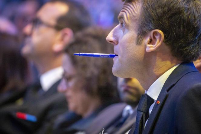 Emmanuel Macron le 3 avril à Saint-Brieuc, Côtes d'Armor.