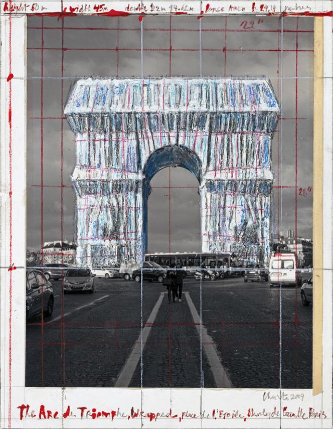 Collage représentant l'Arc de triomphe emballé, par Christo et Jeanne-Claude.