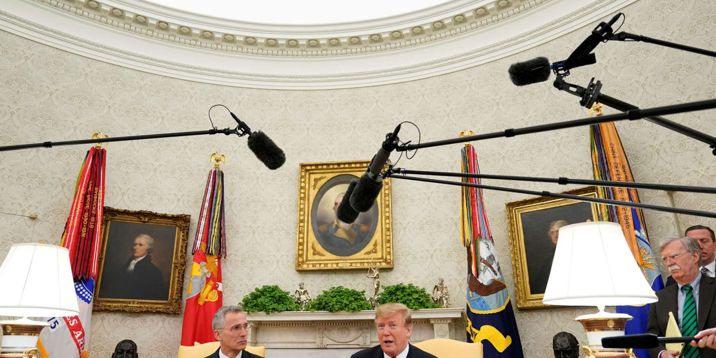 U.S. President Donald Trump speaks while meeting with NATO Secretary General Jens Stoltenberg in the Oval Office at the White House in Washington, U.S., April 2, 2019. REUTERS/Joshua Roberts