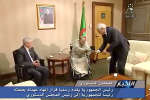 Algerian President Abdelaziz?Bouteflika hands over resignation letter to constitutional council head Tayeb Belaiz as upper house chairman Abdelkader Bensalah (L) looks on, in Algeria, April 2, 2019, in this still image from Algerian State TV video. Algerian State TV/Handout via REUTERS  ATTENTION EDITORS - THIS IMAGE WAS PROVIDED BY A THIRD PARTY NO RESALES. NO ARCHIVE. NO ACCESS ALGERIA. ALGERIA OUT. NO COMMERCIAL OR EDITORIAL SALES IN ALGERIA. NO ACCESS ALGERIA.