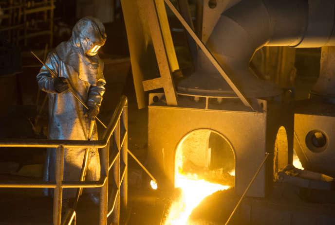 Un ouvrier sur le site de la société Pont-à-Mousson (Meurthe-et-Moselle), enavril2016.