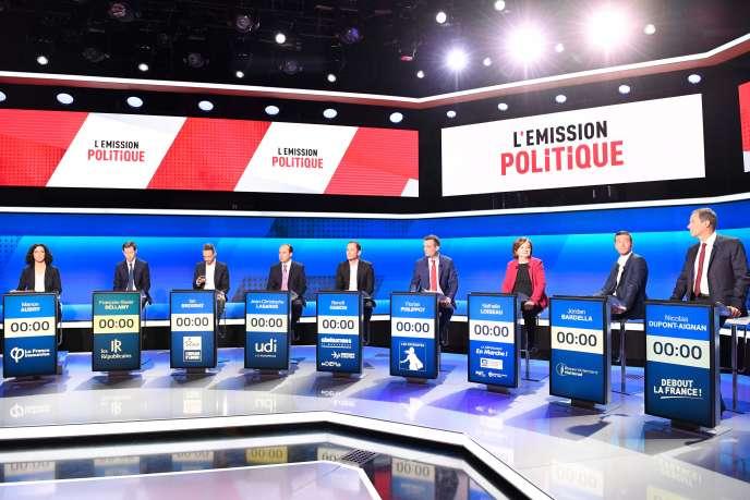 Sur le plateau de « L'Emission politique», le 4 avril.