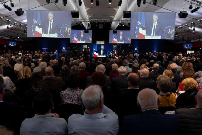 Un meeting de Laurent Wauquiez, le 16mars à Lyon.
