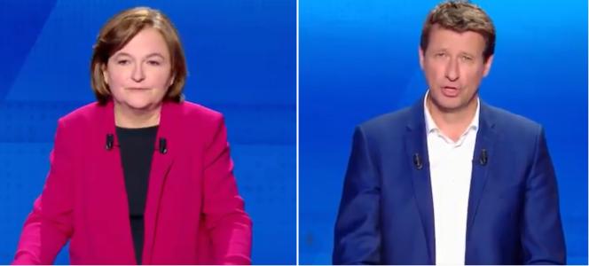 Nathalie Loiseau et Yannick Jadot lors du débat sur France 2 jeudi 4 avril.