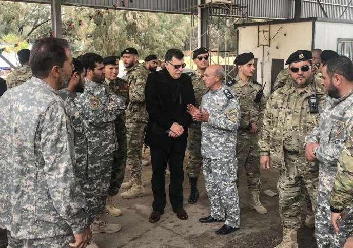 Faïez Sarraj,dirigeant du Gouvernement d'union nationale reconnu par la communauté internationale, à Janzour, à l'ouest de Tripoli, le 5 avril.