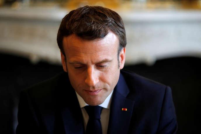Le président de la République Emmanuel Macron, à l'Elysée, le 5 avril 2019.