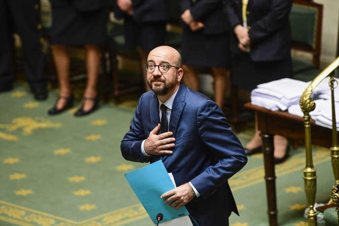 Le premier ministre belge, Charles Michel,devant la Chambre des représentants, à Bruxelles, le 4avril 2019.