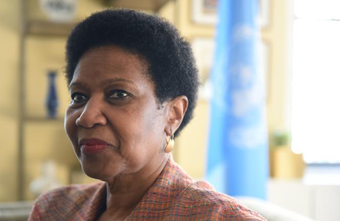 Phumzile Mlambo-Ngcuka, directrice exécutive de l'Entité des Nations unies pour l'égalité des sexes et l'autonomisation des femmes (ONU Femmes), en 2017 à New York.