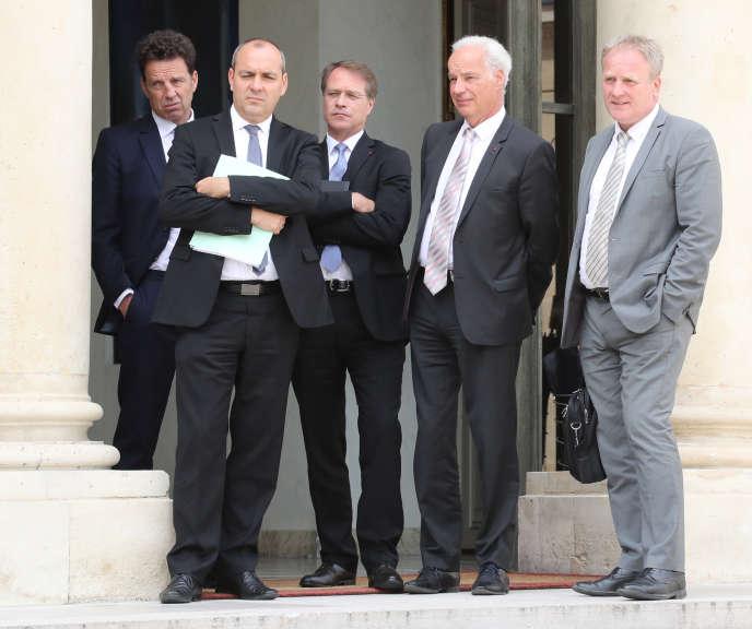 De gauche à droite, Geoffroy Roux de Bezieux (président du Medef), Laurent Berger(secrétaire général de la CFDT),Francois Asselin (président de la CPME), Alain Griset (président de l'U2P) etFrançois Hommeril (président de la CFE-CGC), à l'Elysée en juillet 2018.