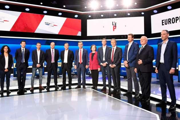 Têtes de listes pour les Européennes lors d'un débat TV, le 4 avril. De gauche à droite : Manon Aubry (LFI), François-Xavier Bellamy (LR), Ian Brossat (PCF), Jean-Christophe Lagarde (UDI), Benoît Hamon (Génération.s), Florian Philippot (Les Patriotes), Nathalie Loiseau (LREM), Jordan Bardella (RN), Nicolas Dupont-Aignan (DLF), Yannick Jadot (EELV), François Asselineau (UPR) et Raphaël Glucksmann (liste commune Place publique-PS).