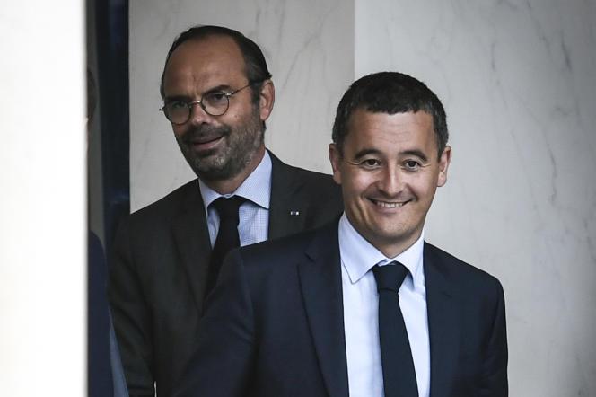 Edouard Philippe et le ministre de l'action et des comptes publics,Gérald Darmanin, à l'Elysée en août 2018.